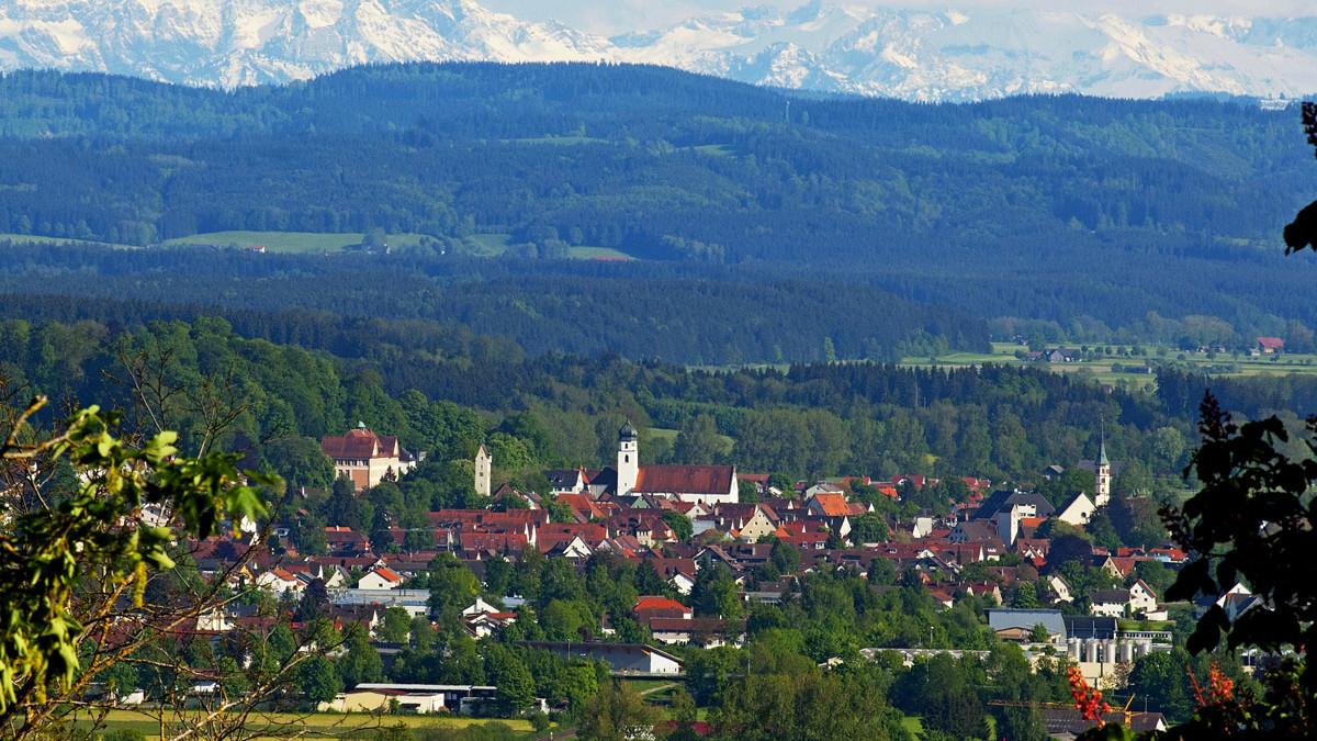Panoramablick auf die Stadt Leutkirch