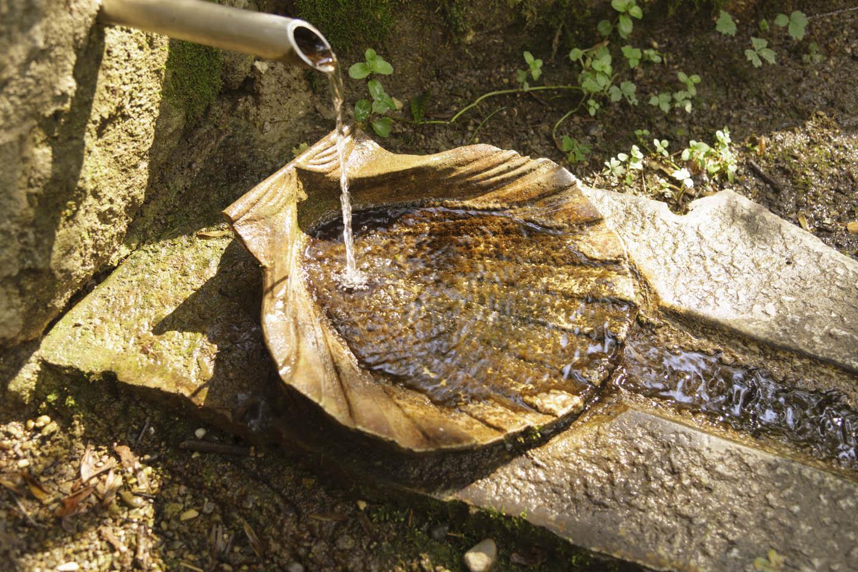 Wasser fließt über einen Stein in Muschelform